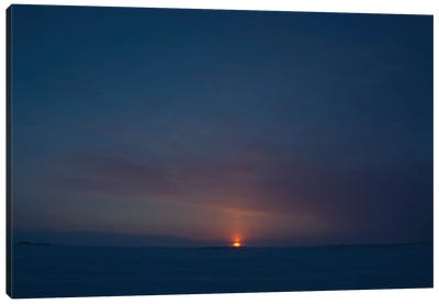 Sunset From Dettah Ice Road, Yellowknife, Northwest Territories, Canada. Canvas Art Print