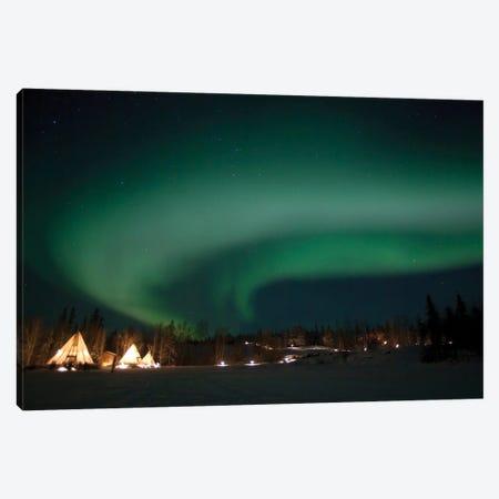 Aurora Above Aurora Village, Aurora Lake, Yellowknife, Northwest Territories, Canada. Canvas Print #YUT3} by Yuichi Takasaka Canvas Wall Art
