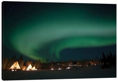Aurora Above Aurora Village, Aurora Lake, Yellowknife, Northwest Territories, Canada. Canvas Art Print