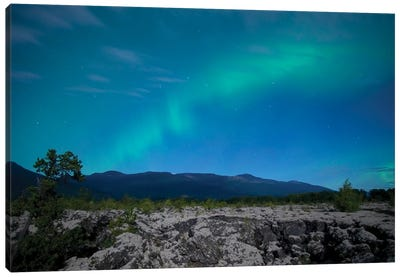 Aurora Above Lava Bed. Canvas Art Print