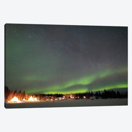 Aurora And Milky Way, Aurora Village, Yellowknife, Northwest Territories, Canada. Canvas Print #YUT5} by Yuichi Takasaka Art Print