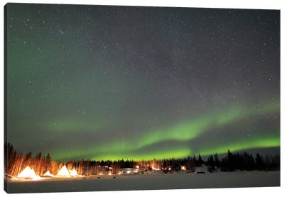 Aurora And Milky Way, Aurora Village, Yellowknife, Northwest Territories, Canada. Canvas Art Print