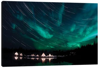 Aurora And Star Trails Canvas Art Print