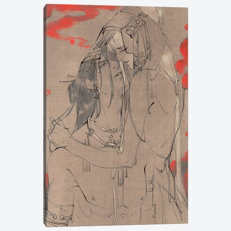 Lovers Gaze Canvas Print #YYU18} by Art of Yayu Art Print