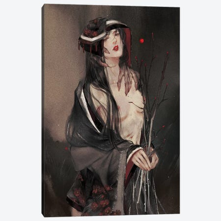 Praying With Flowering Quince Canvas Print #YYU23} by Art of Yayu Canvas Artwork