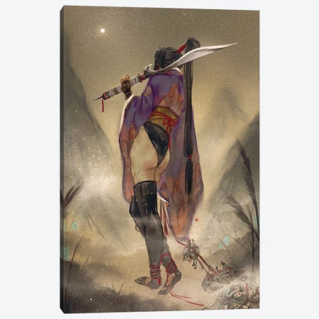 Evening Sun Canvas Print #YYU7} by Art of Yayu Canvas Wall Art