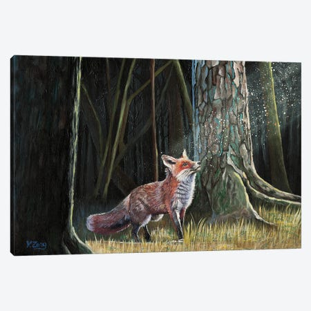 Red Fox In Forest Canvas Print #YZG11} by Yue Zeng Canvas Art Print