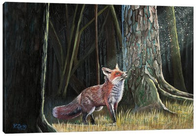 Red Fox In Forest Canvas Art Print
