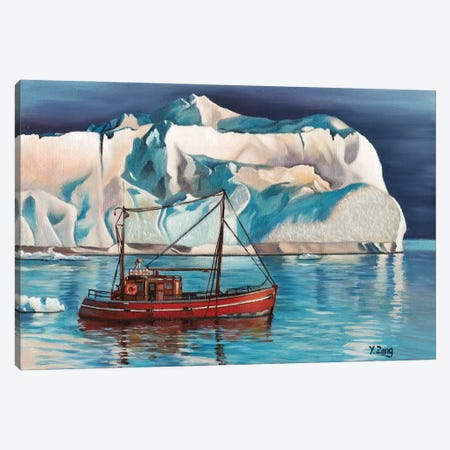 Iceberg And Tug Boat Canvas Print #YZG15} by Yue Zeng Canvas Artwork