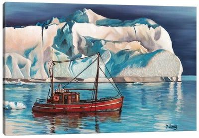 Iceberg And Tug Boat Canvas Art Print