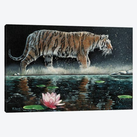 Tiger And Lily Canvas Print #YZG16} by Yue Zeng Canvas Artwork