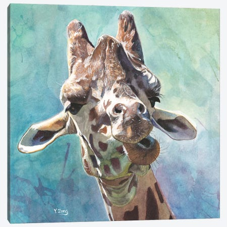Giraffe Portrait Canvas Print #YZG28} by Yue Zeng Canvas Artwork