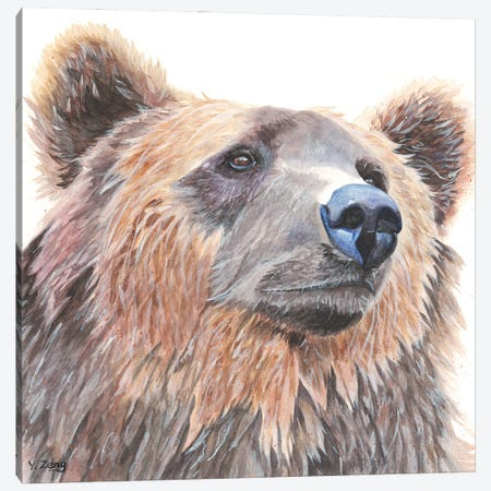 Grizzly Bear Portrait Canvas Print #YZG29} by Yue Zeng Canvas Wall Art
