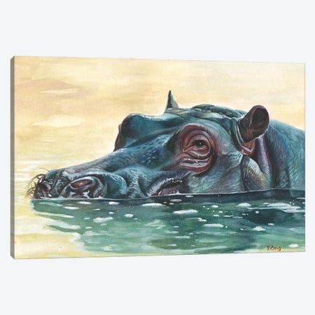 Hippo Canvas Print #YZG30} by Yue Zeng Art Print