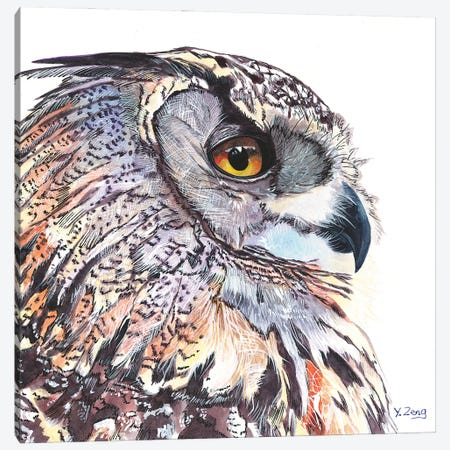 Great Horned Owl Portrait Canvas Print #YZG35} by Yue Zeng Canvas Art