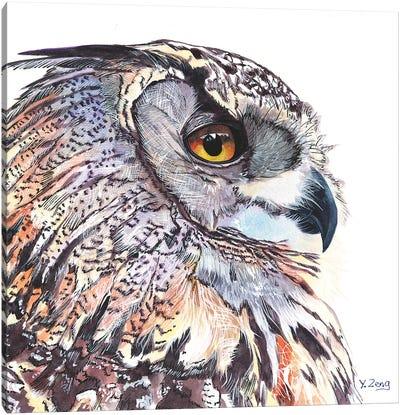 Great Horned Owl Portrait Canvas Art Print