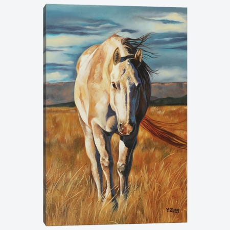 Horse Home Coming Canvas Print #YZG36} by Yue Zeng Canvas Wall Art