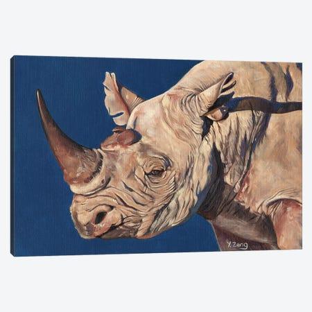 Rhino Portrait Canvas Print #YZG42} by Yue Zeng Canvas Wall Art