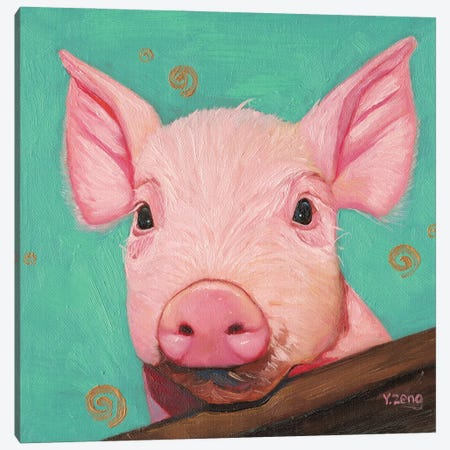 Pink Piggy Canvas Print #YZG51} by Yue Zeng Art Print