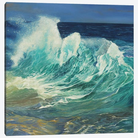 Ocean Waves Canvas Print #YZG55} by Yue Zeng Canvas Art