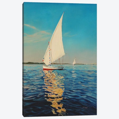 Sail Boat Canvas Print #YZG59} by Yue Zeng Art Print