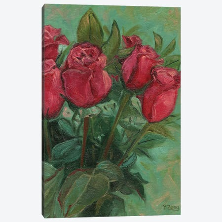 Red Roses Canvas Print #YZG62} by Yue Zeng Canvas Art