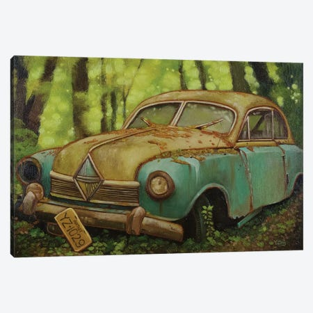 Abandoned Car Oil Canvas Print #YZG81} by Yue Zeng Canvas Wall Art