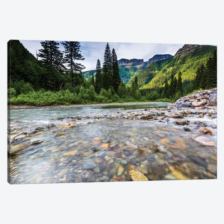 Stream, Rocks, Rushing Water, Glacier National Park, Montana Canvas Print #YZK3} by Yitzi Kessock Art Print