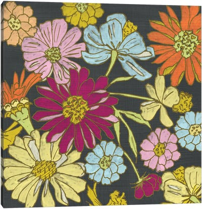 Summer Floral On Grey I Canvas Print #ZAR131