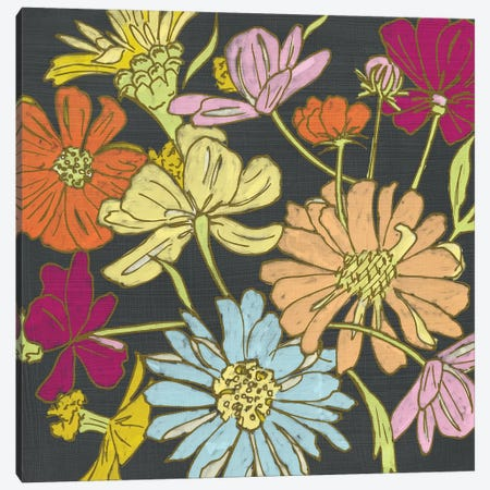 Summer Floral On Grey II Canvas Print #ZAR132} by Chariklia Zarris Canvas Artwork