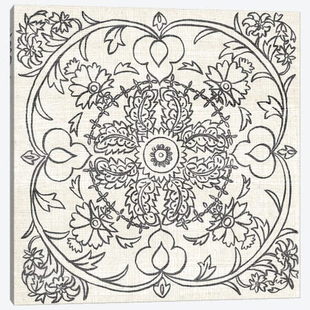 B&W Batik Rosette IV Canvas Print #ZAR171} by Chariklia Zarris Canvas Artwork