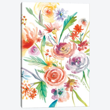 Floating Florals I Canvas Print #ZAR184} by Chariklia Zarris Canvas Art