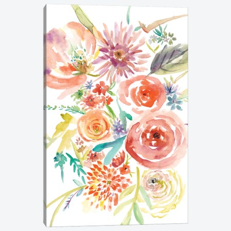 Floating Florals II Canvas Print #ZAR185} by Chariklia Zarris Canvas Wall Art