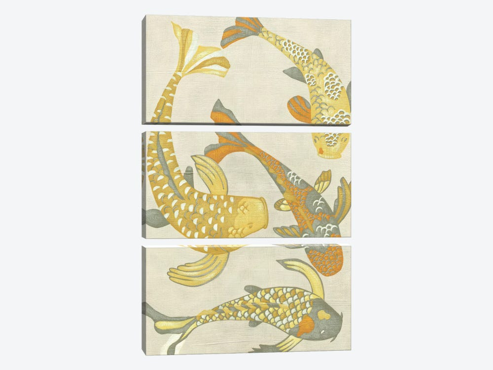 Golden Koi I by Chariklia Zarris 3-piece Canvas Wall Art