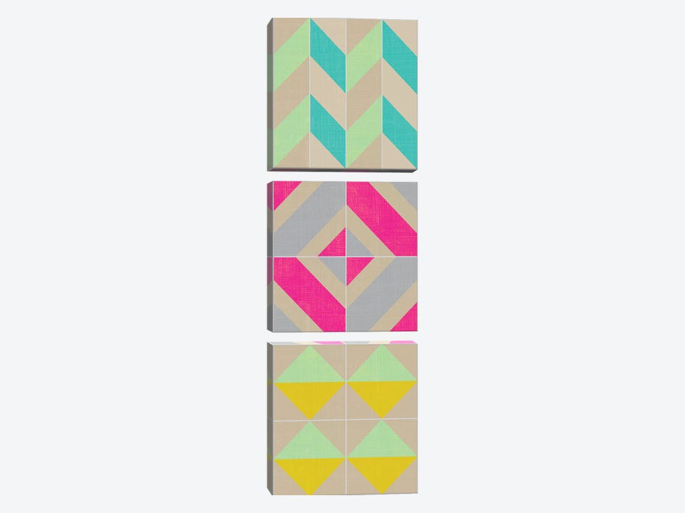 Elementary Tile Panel II by Chariklia Zarris 3-piece Canvas Art Print