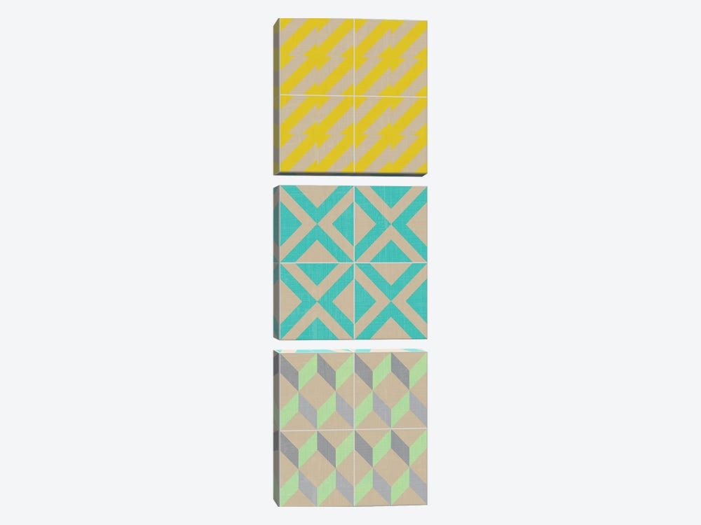 Elementary Tile Panel III by Chariklia Zarris 3-piece Canvas Wall Art