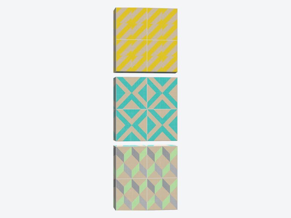 Elementary Tile Panel III by Chariklia Zarris 3-piece Canvas Wall Art