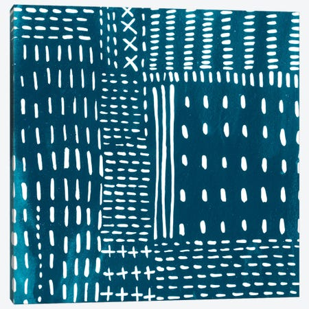 Sashiko Stitches III Canvas Print #ZAR238} by Chariklia Zarris Art Print