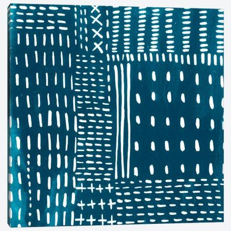 Sashiko Stitches III Canvas Print #ZAR238} by Chariklia Zarris Art Print