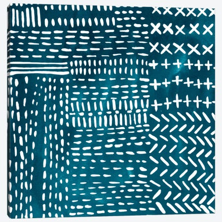 Sashiko Stitches IV Canvas Print #ZAR239} by Chariklia Zarris Art Print