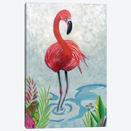 Vivid Flamingo II Canvas Print #ZAR264} by Chariklia Zarris Canvas Art Print