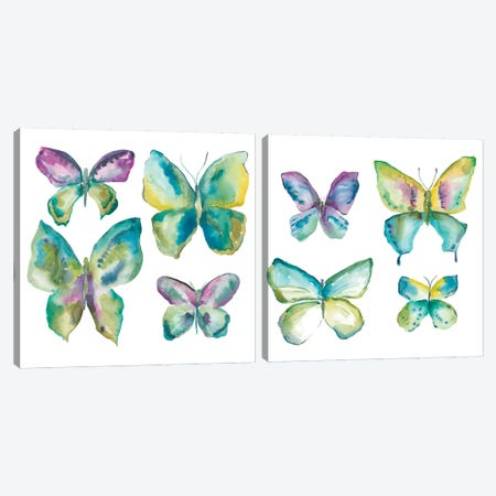 Jeweled Butterflies Diptych Canvas Print Set #ZAR2HSET003} by Chariklia Zarris Canvas Art Print