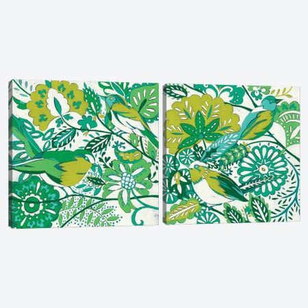 Lovebirds Diptych Canvas Print Set #ZAR2HSET004} by Chariklia Zarris Canvas Art