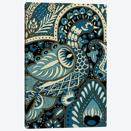 Indigo Peacock I Canvas Print #ZAR3} by Chariklia Zarris Canvas Wall Art