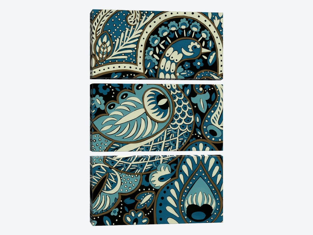 Indigo Peacock I by Chariklia Zarris 3-piece Canvas Wall Art