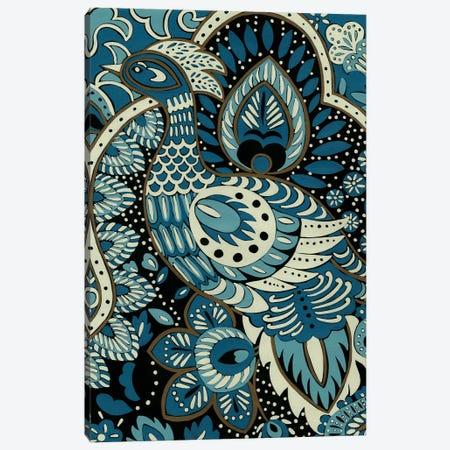 Indigo Peacock II 3-Piece Canvas #ZAR4} by Chariklia Zarris Canvas Print