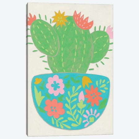 Happy Cactus IV Canvas Print #ZAR562} by Chariklia Zarris Art Print