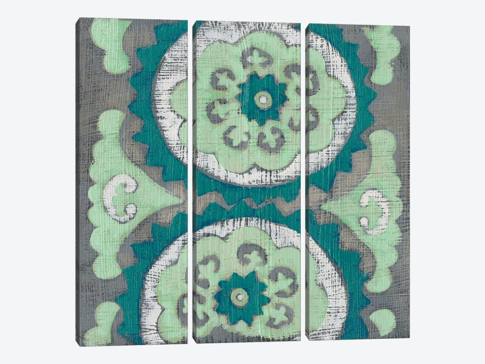 Teal Tapestry III by Chariklia Zarris 3-piece Canvas Art Print