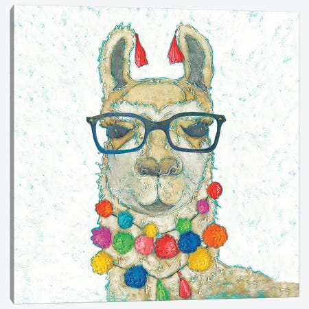 Llama Love with Glasses I Canvas Print #ZAR612} by Chariklia Zarris Art Print