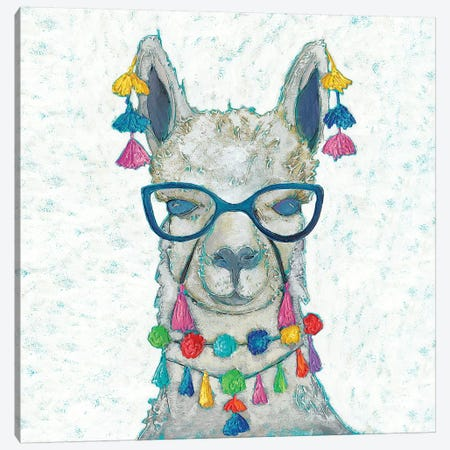 Llama Love with Glasses II Canvas Print #ZAR613} by Chariklia Zarris Art Print